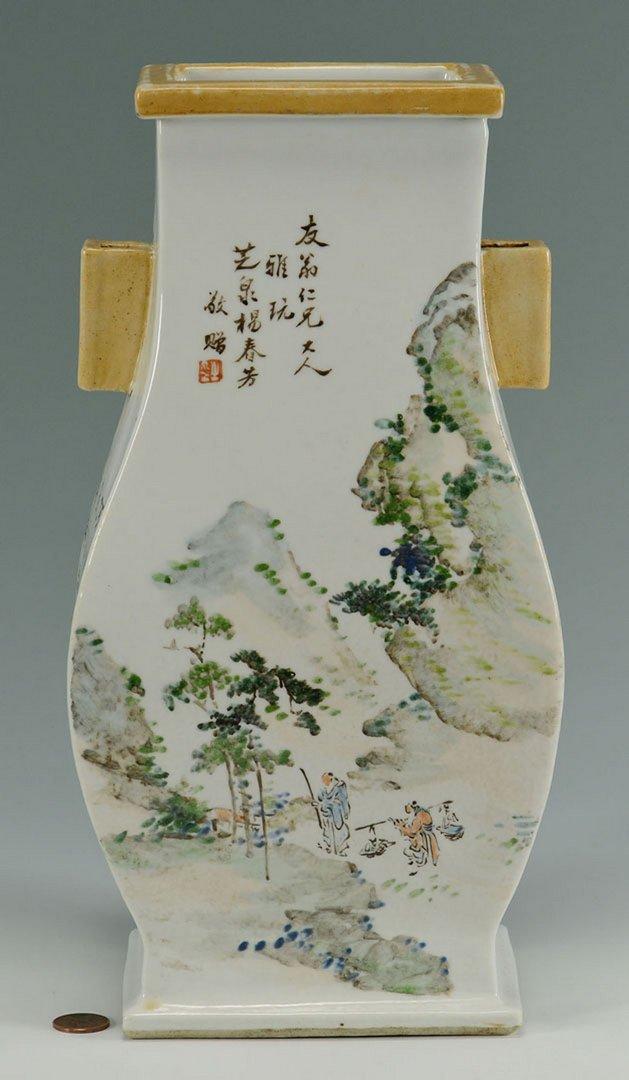 Chinese Famille Rose Handled Vase