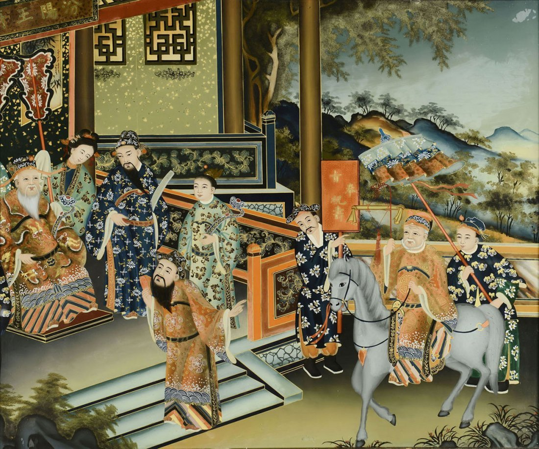 Chinese Palace Scene Reverse Painting on Glass