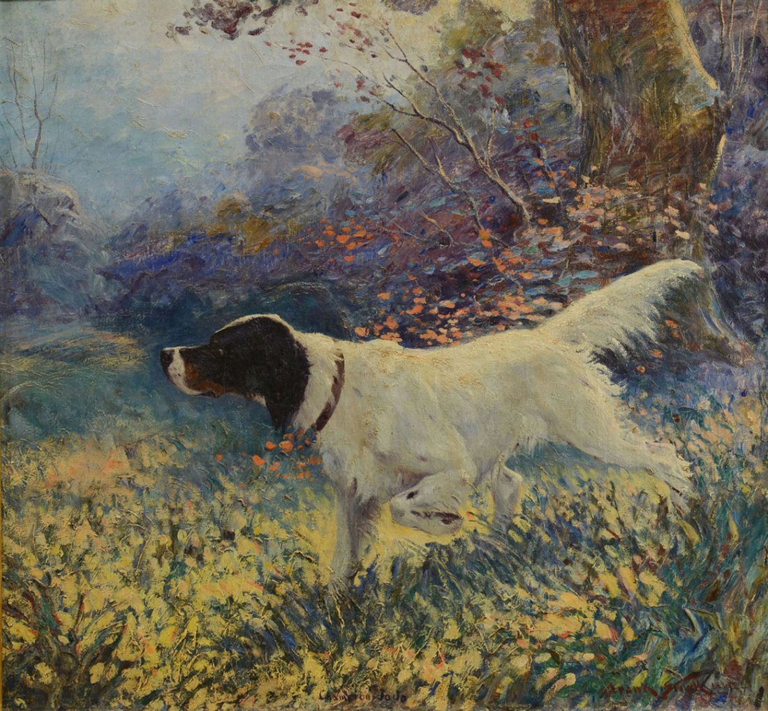 Frank Stick Hunting Dog oil on canvas