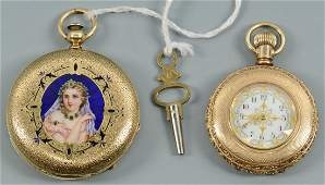 Two ladies 14k pocket watches incl Locle