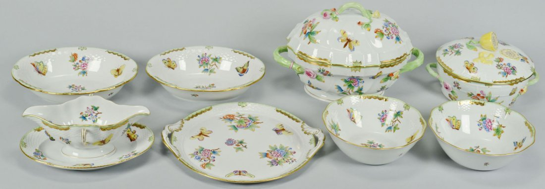 8 Herend Queen Victoria Porcelain Service Items