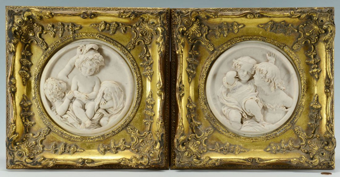 Pair of E. W. Wyon marble plaques of children