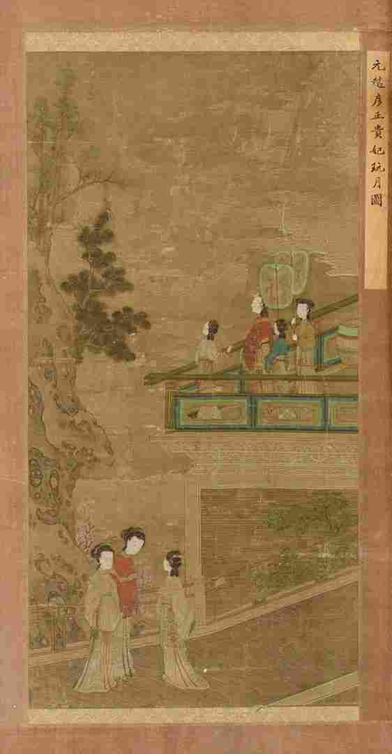 Chinese Scroll Painting with Figures on Silk