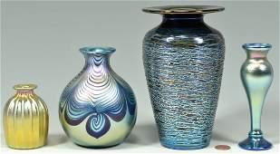 4 pcs signed Art Glass, Abelman & Correia