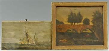 Two Folk Art oil on Board Paintings