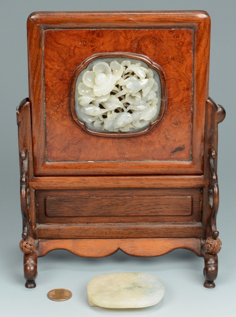 Chinese White Jade Table Screen + Buckle