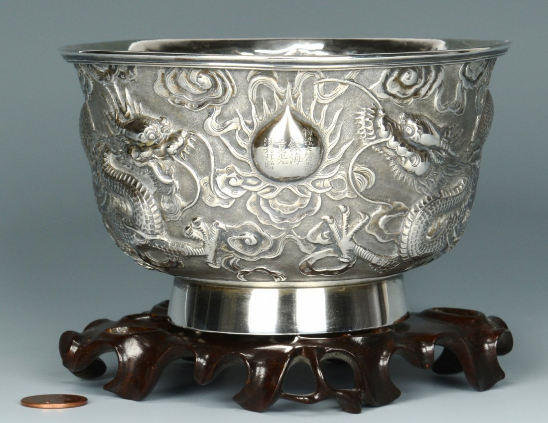 Chinese Export Silver Bowl w/ Dragon Design