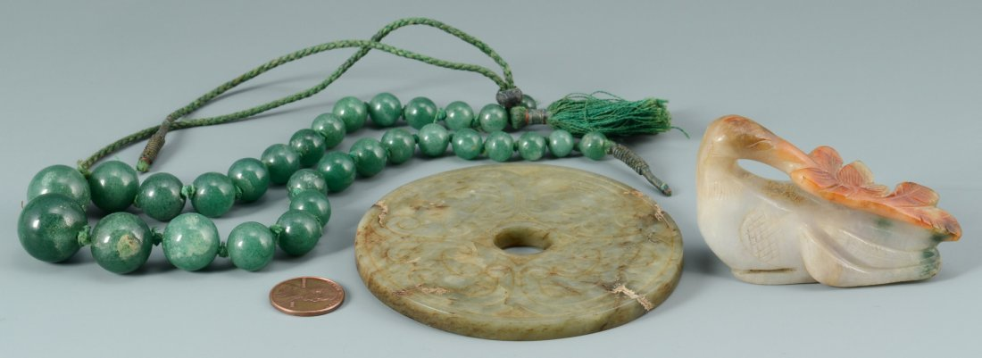 3 Chinese Jade Items: Stork, Beads, Disc