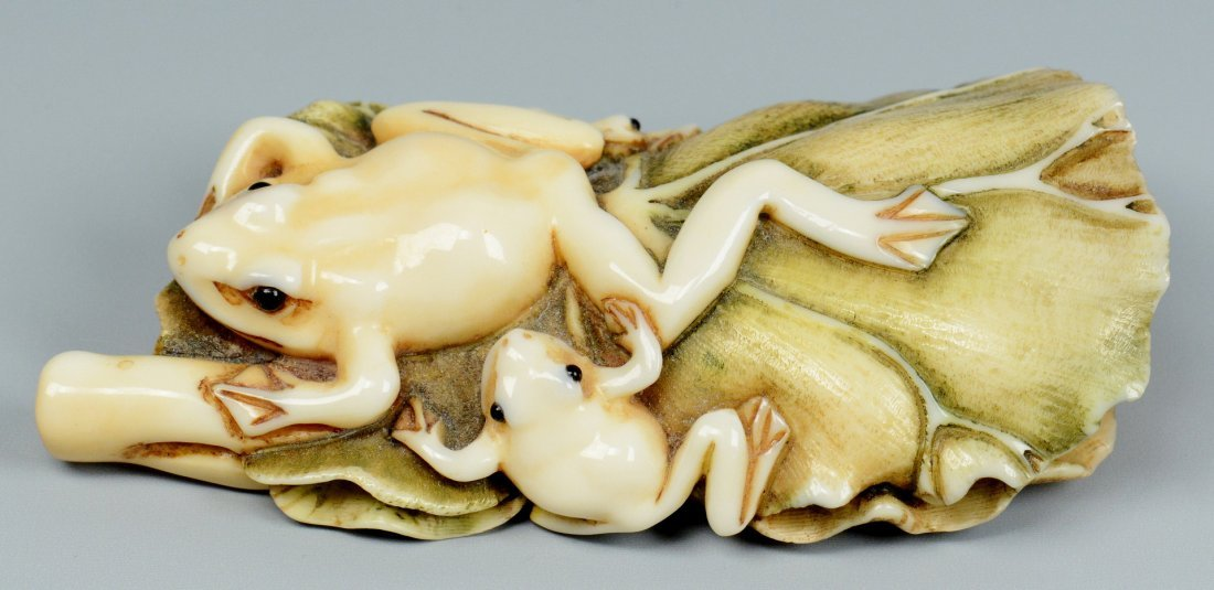 Japanese Ivory Netsuke, Frogs on lily pad