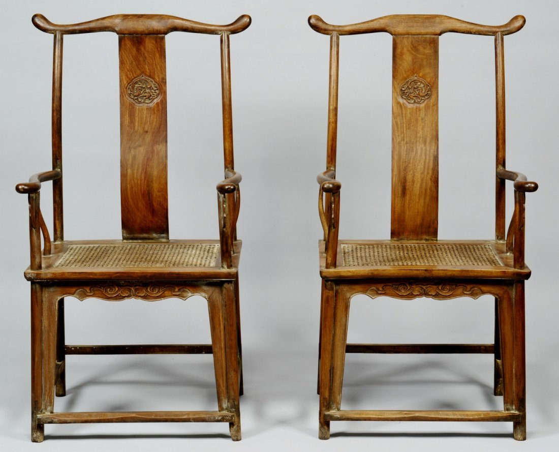 Pair of Chinese Hardwood Yokeback Armchairs, Modern
