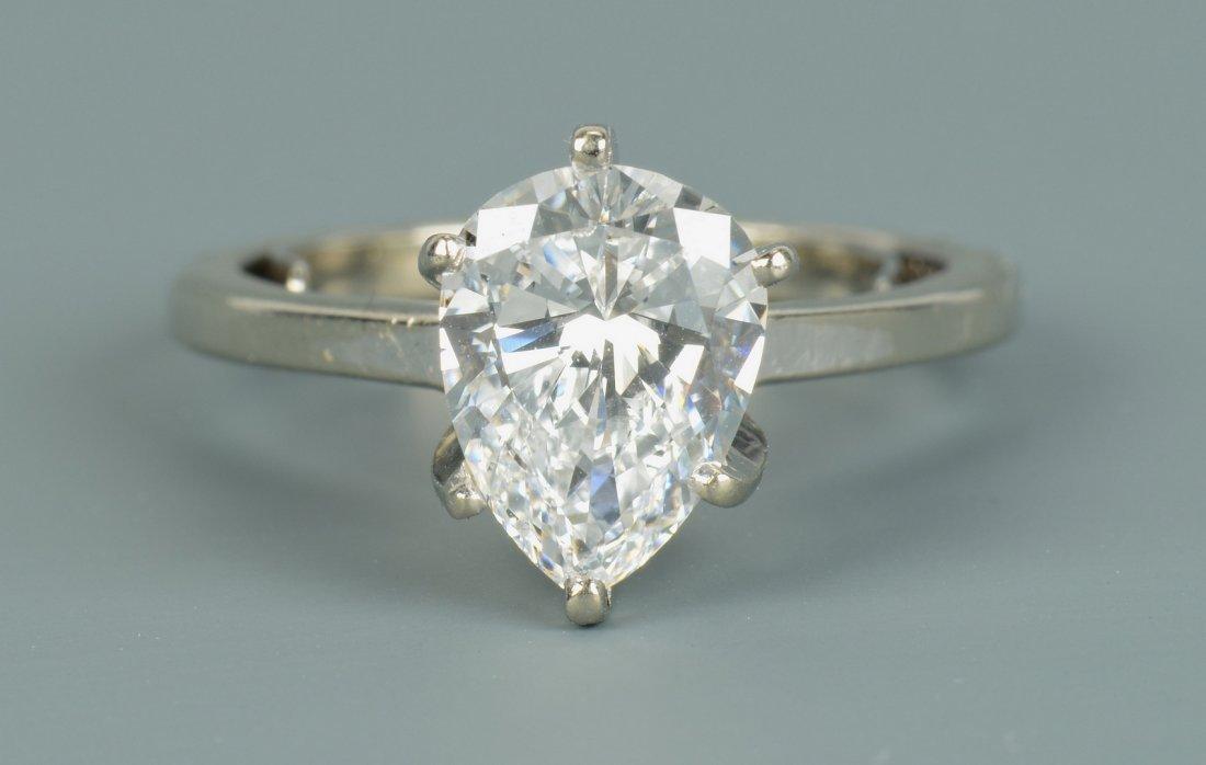 Pear-shaped D color diamond, GIA