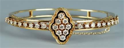 14k Victorian Diamond Bangle Bracelet
