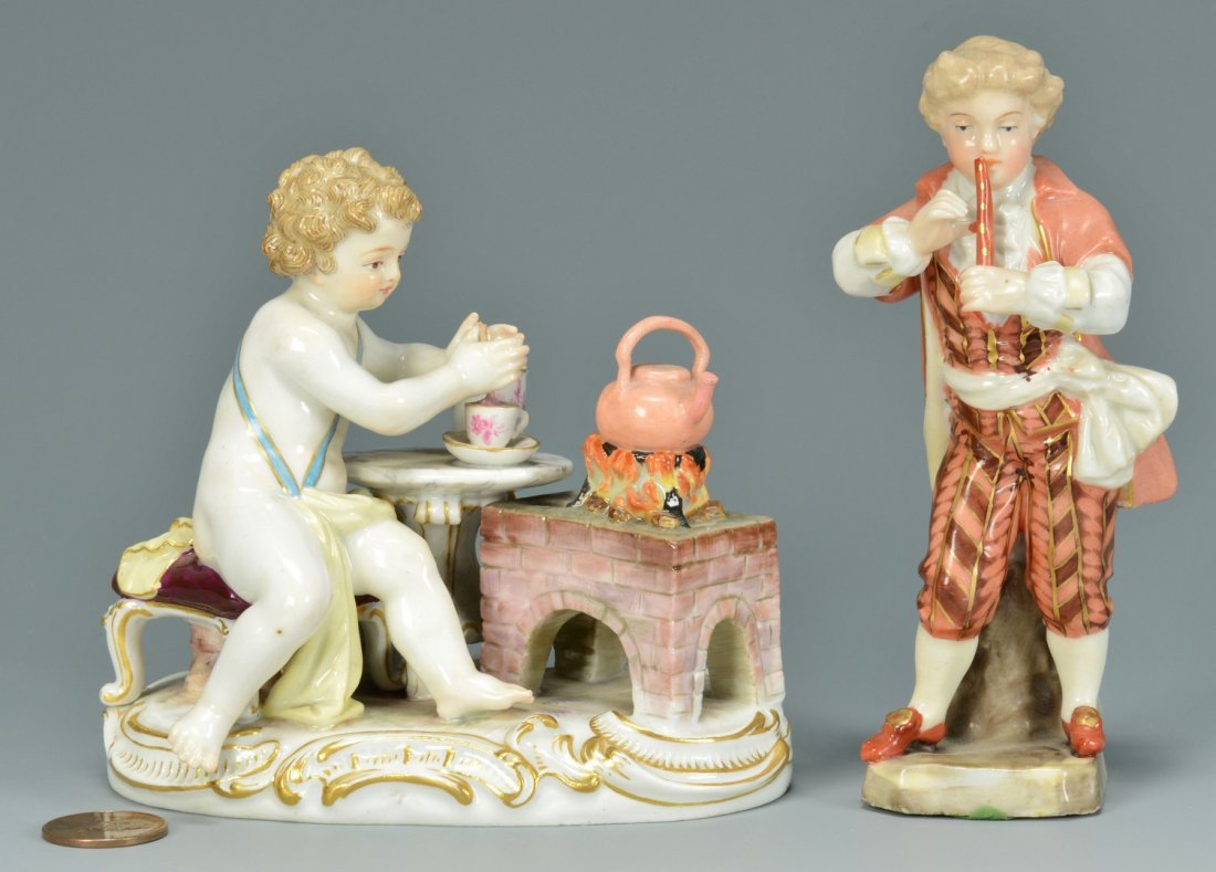 2 Meissen Figures: Tea and Music