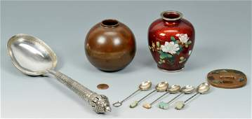 Grouping of 9 metal Asian items