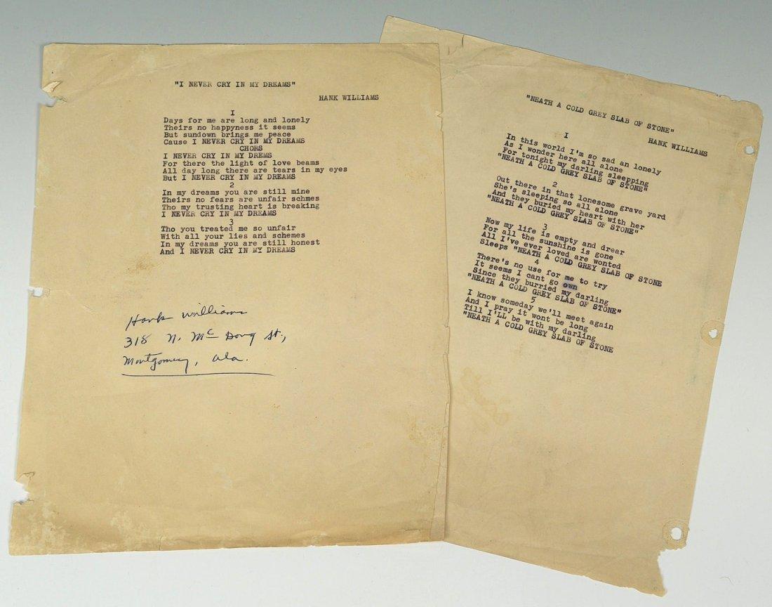 Hank Williams Sr signed song lyrics, 1 unpublished