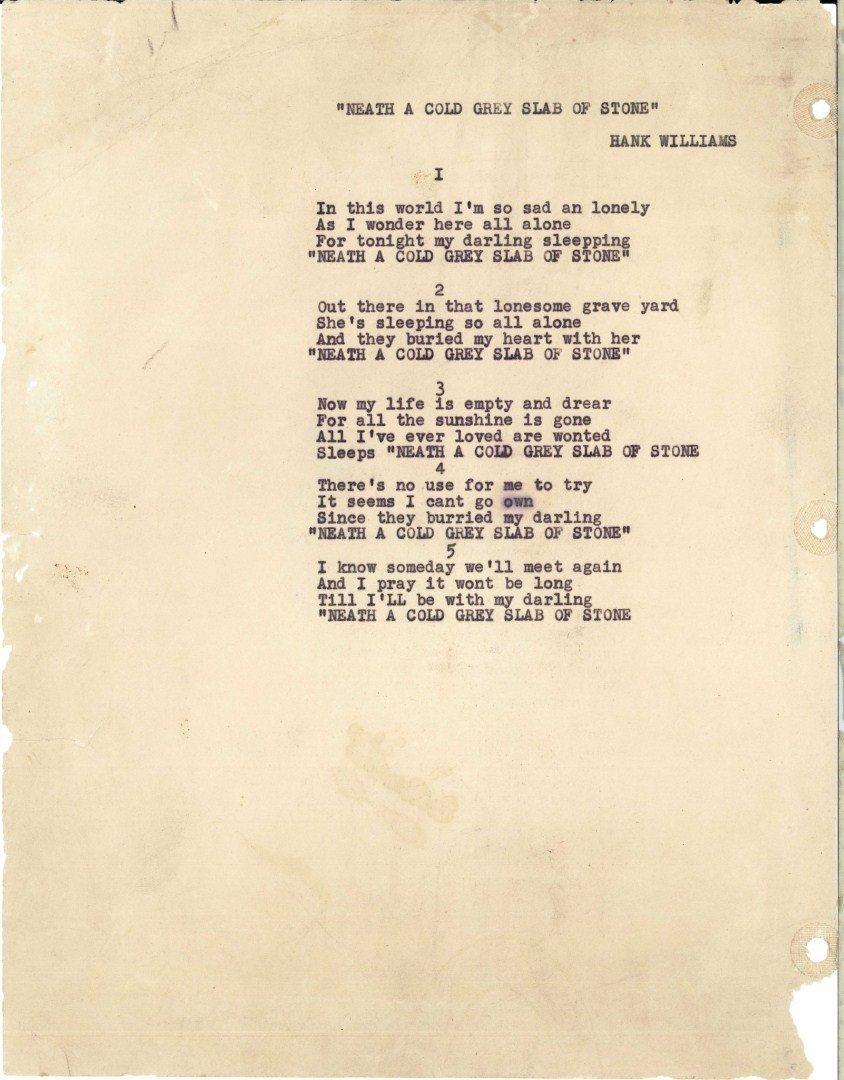 Hank Williams Sr signed song lyrics, 1 unpublished - 2