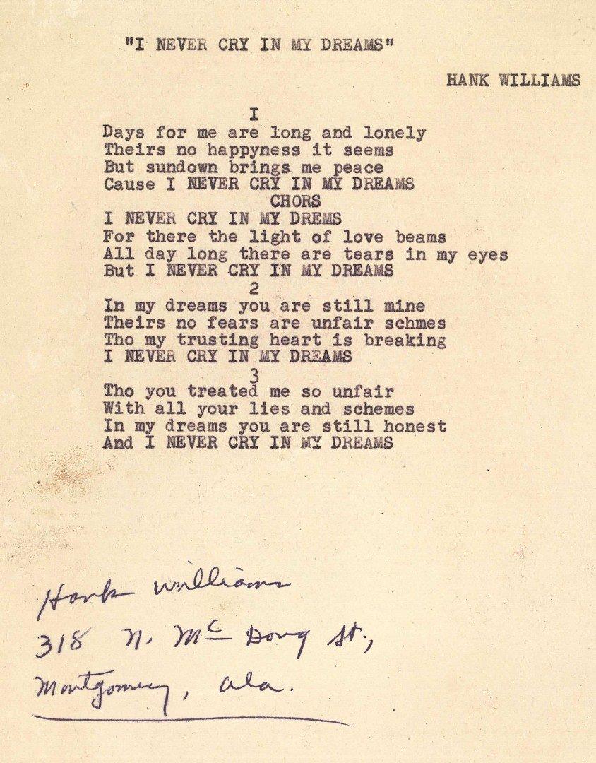Hank Williams Sr signed song lyrics, 1 unpublished - 3