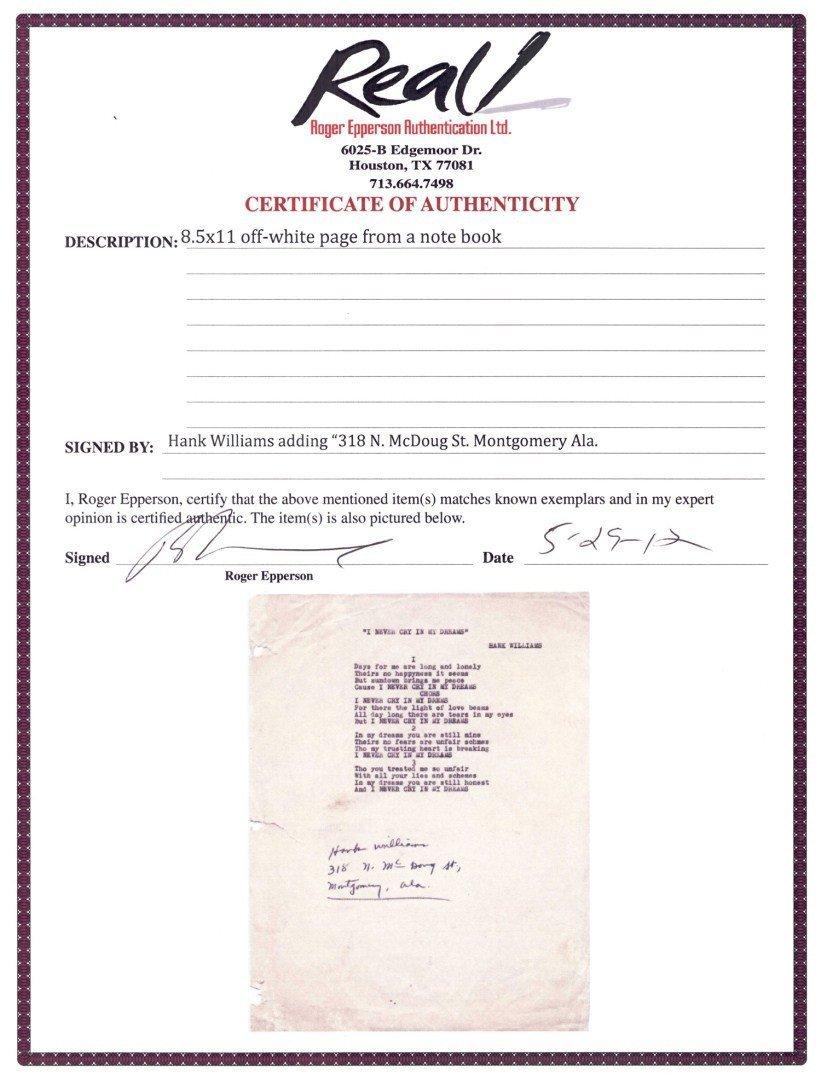 Hank Williams Sr signed song lyrics, 1 unpublished - 4