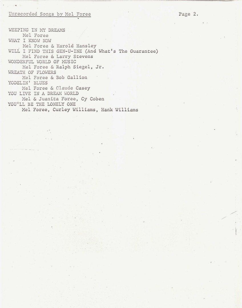 Hank Williams Sr signed song lyrics, 1 unpublished - 7