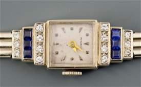 Movado Art Deco 14k Dia & Sapphire Lady's Watch