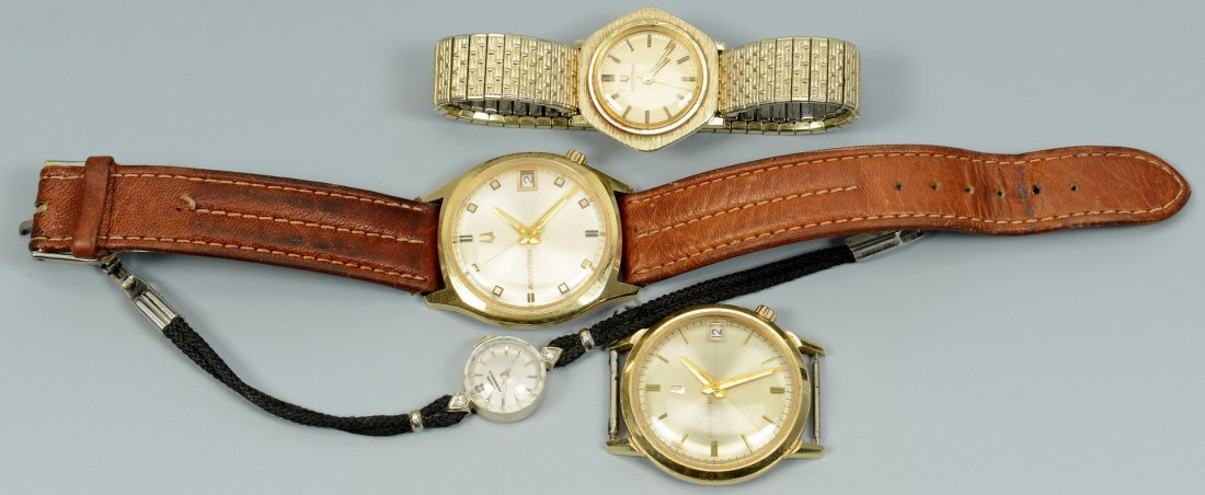 Four 14k Gold Wrist Watches