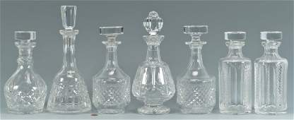 7 Cut Crystal Decanters Waterford  Galway