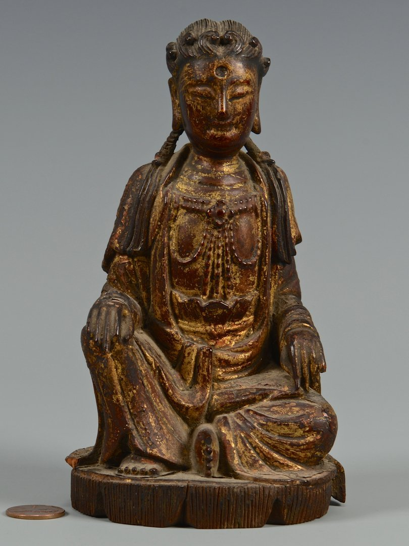Polychrome Carved Seated Buddha