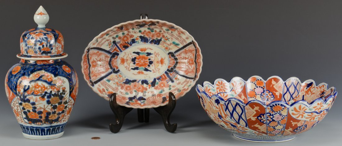 Imari Covered jar & 2 Bowls