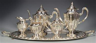 6 pc Mexican Sterling Tea Set w Sterling Tray