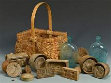 19th C. Butter Molds and Flasks