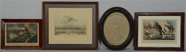 4 19th c Prints inc Farragut Lincoln Aviation