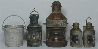 4 Ship Lanterns & Navy Bucket