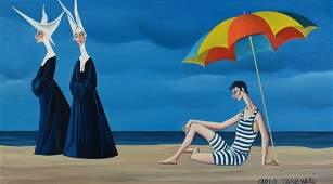 Carlo Canevari painting, Nuns at Beach