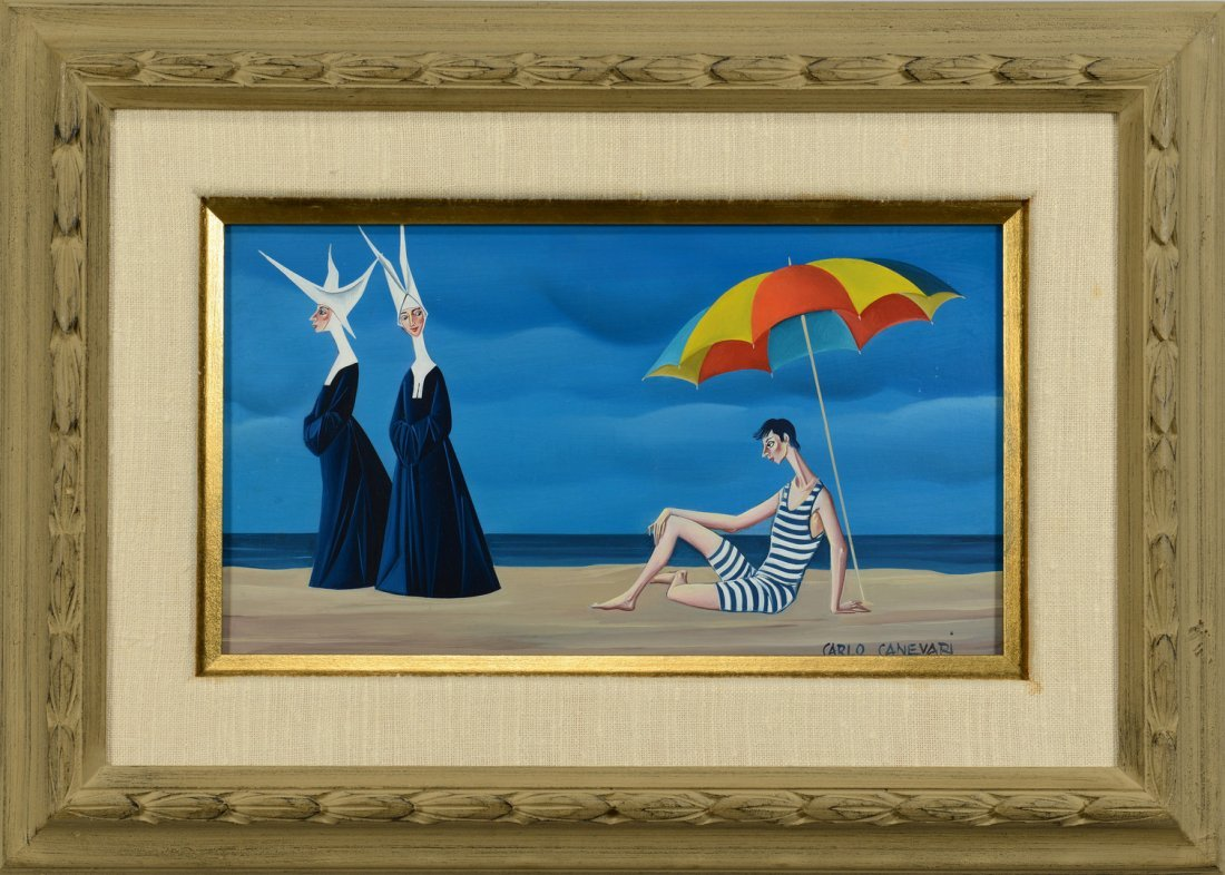 Carlo Canevari painting, Nuns at Beach - 2