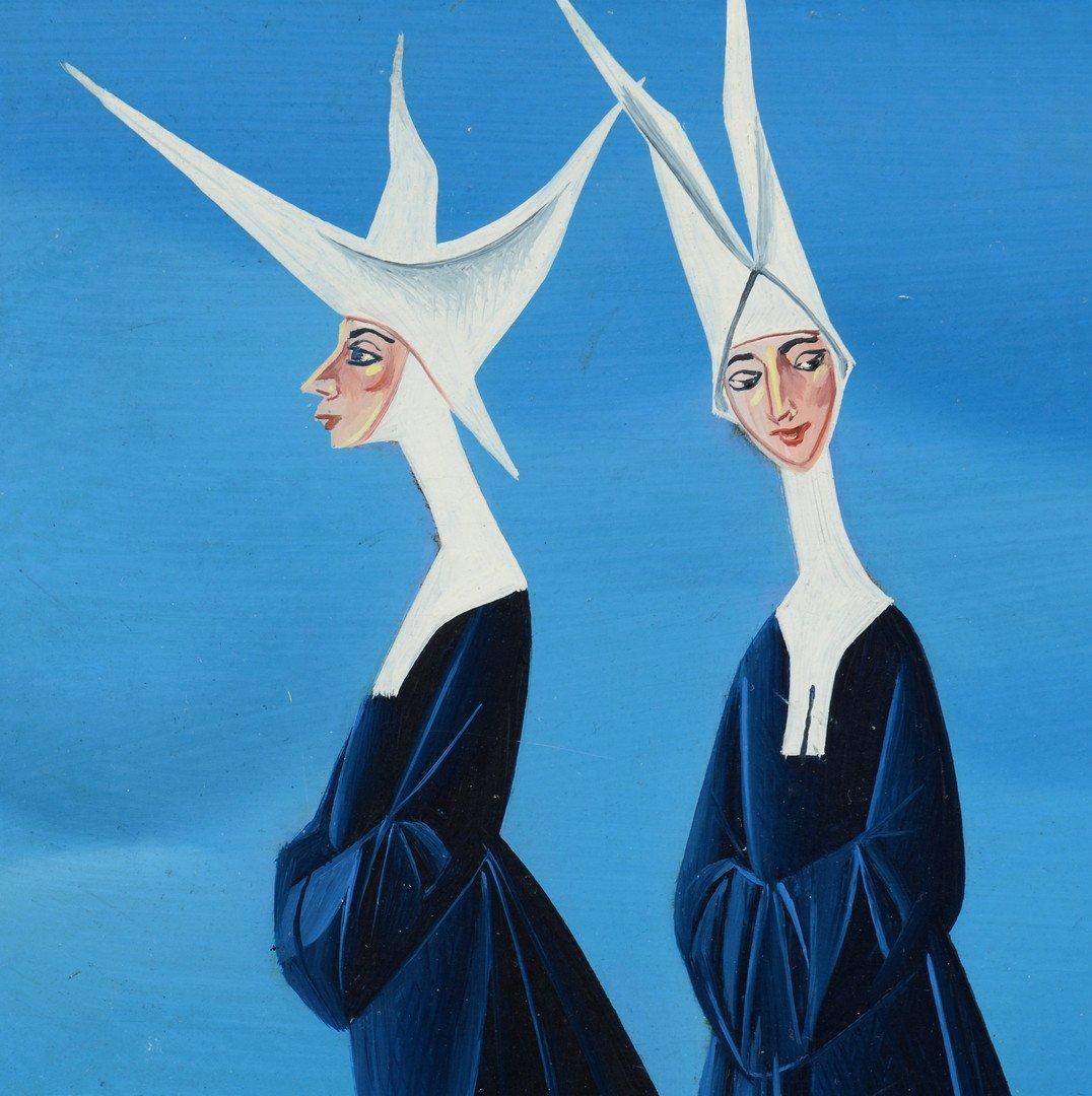 Carlo Canevari painting, Nuns at Beach - 3
