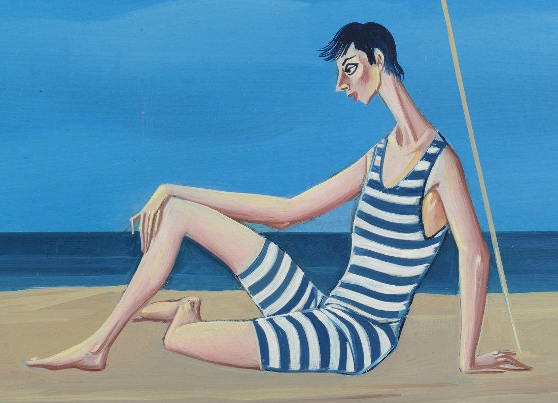 Carlo Canevari painting, Nuns at Beach - 4