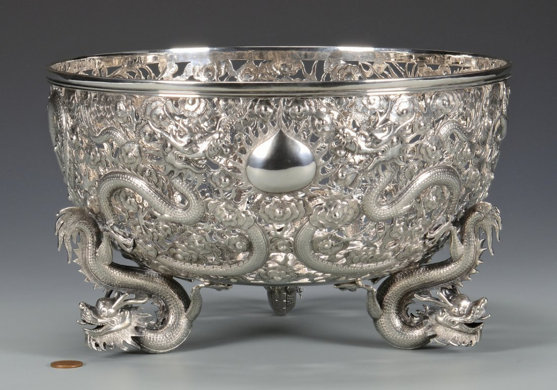 Large Chinese Export Silver Dragon Bowl - 2
