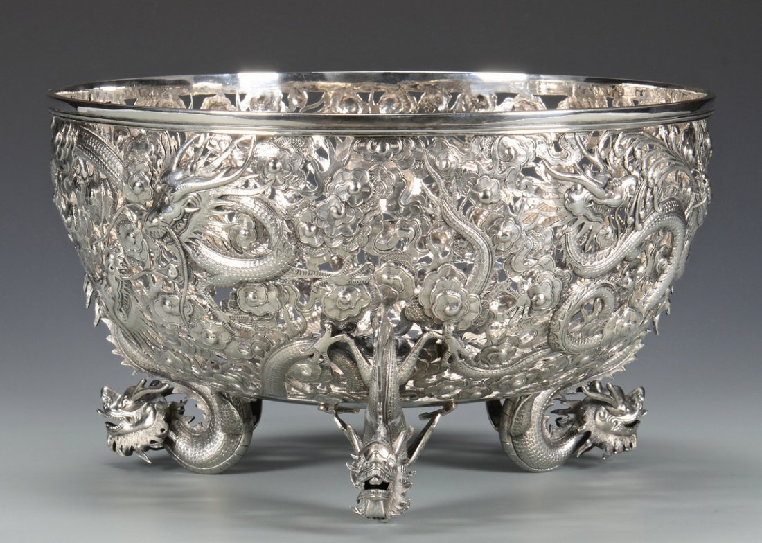 Large Chinese Export Silver Dragon Bowl - 3