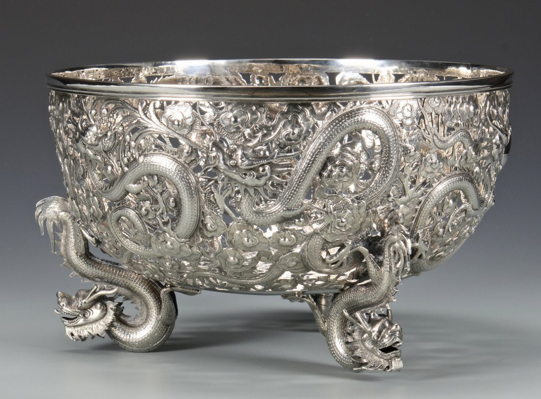 Large Chinese Export Silver Dragon Bowl - 4