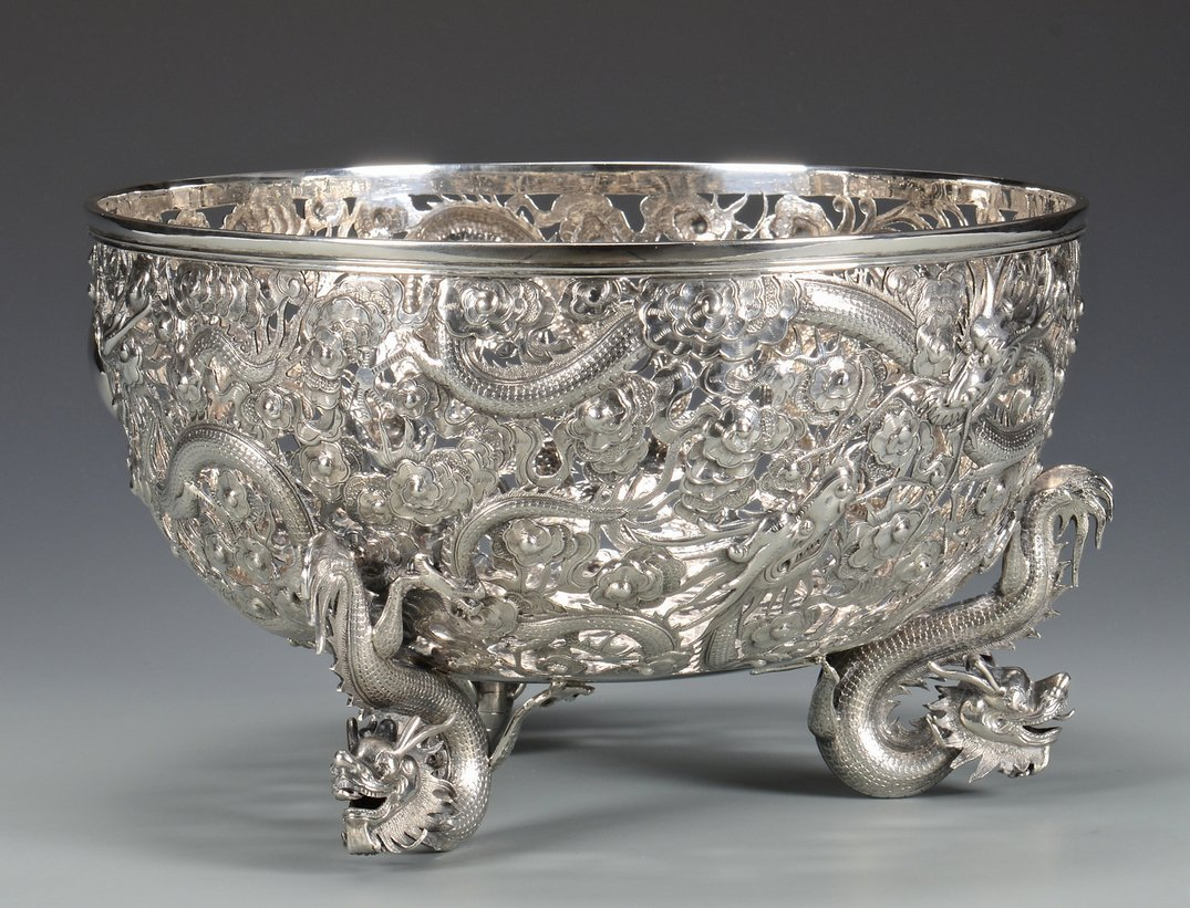 Large Chinese Export Silver Dragon Bowl - 5