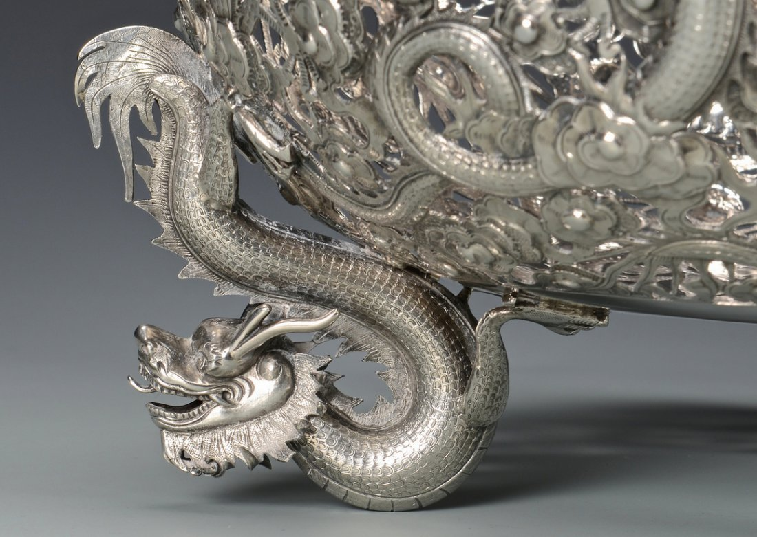 Large Chinese Export Silver Dragon Bowl - 6