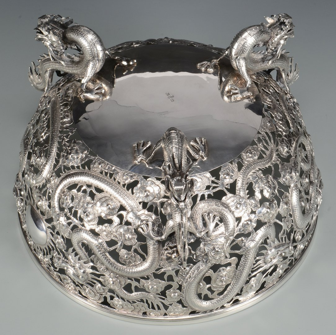 Large Chinese Export Silver Dragon Bowl - 8