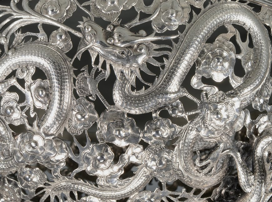 Large Chinese Export Silver Dragon Bowl - 9