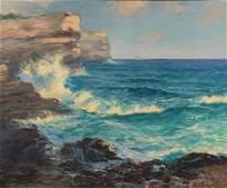 AE Backus oil on canvas seascape 25 x 30