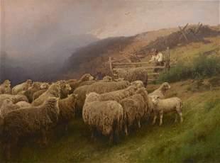 Hermann Herzog oil landscape with sheep