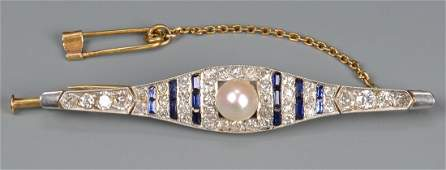 Art Deco plat/18k Dia/Sapphire Brooch