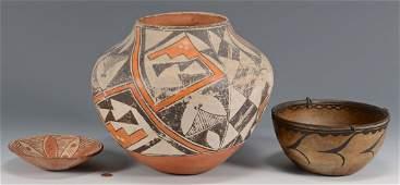 3 Native American Southwestern Pottery Vessels