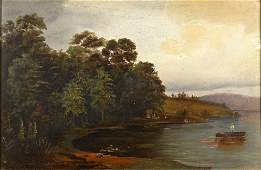 Hudson River School Fishing Lake Scene