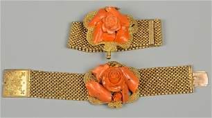 2 Victorian Coral Bracelets
