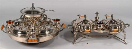 Two Georgian Silverplate Servers